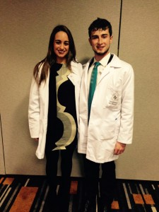 Melissa Haddad and Miguel Conjuegra show off their medical-chic fashion choices.