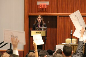 The moderator of DISEC chooses delegates to describe their current strategies for tackling ethnic conflicts.