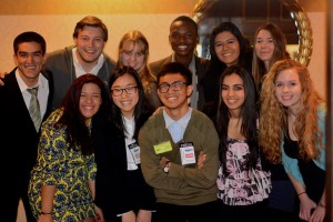 [Press Corps team HNMUN 2014] From left to right: JD García, Jon Grossman, Elina Shavlay, Donovan, Francesca Del Rosario, Elise Borothel (2nd Row) Maria Rivera, Danielle Suh, Kevin Popperman, Karishma Shah, Monica Busch